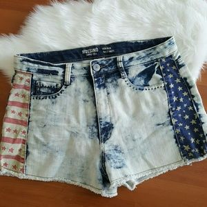 Mossimo high rise distressed flag denim shorts 15